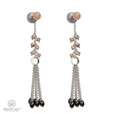 CULTURED WHITE BAROQUE PEARL 14K ROSE GOLD 2 STARS DIAMOND STUD EARRINGS