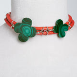 Swirl Double – Wrap Necklace Orange with Malachite Clovers in Silver