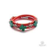 Swirl Double – Wrap Bracelet Orange with Malachite Clovers in Silver