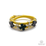 Swirl Double – Wrap Bracelet Yellow with Black Agate Clovers in Silver
