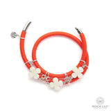 Swirl Double – Wrap Bracelet Orange with White Agate Clovers in Silver