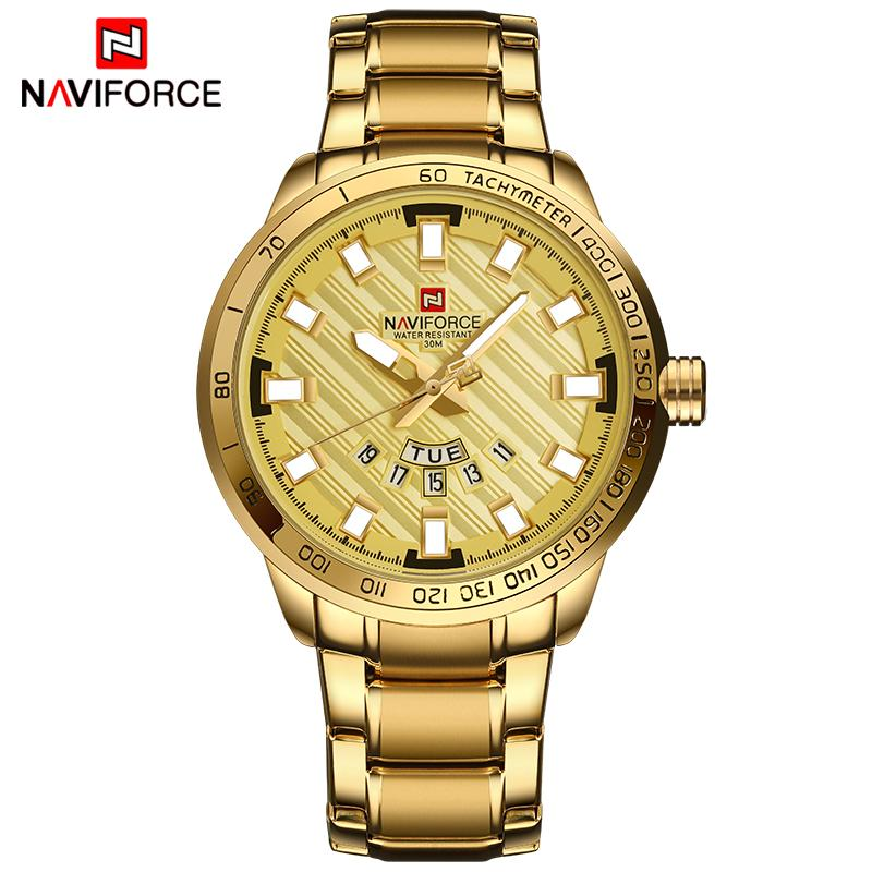 NAVIFORCE Luxury Stainless Steel Gold Men's Watch - 6 COLOUR CHOICES