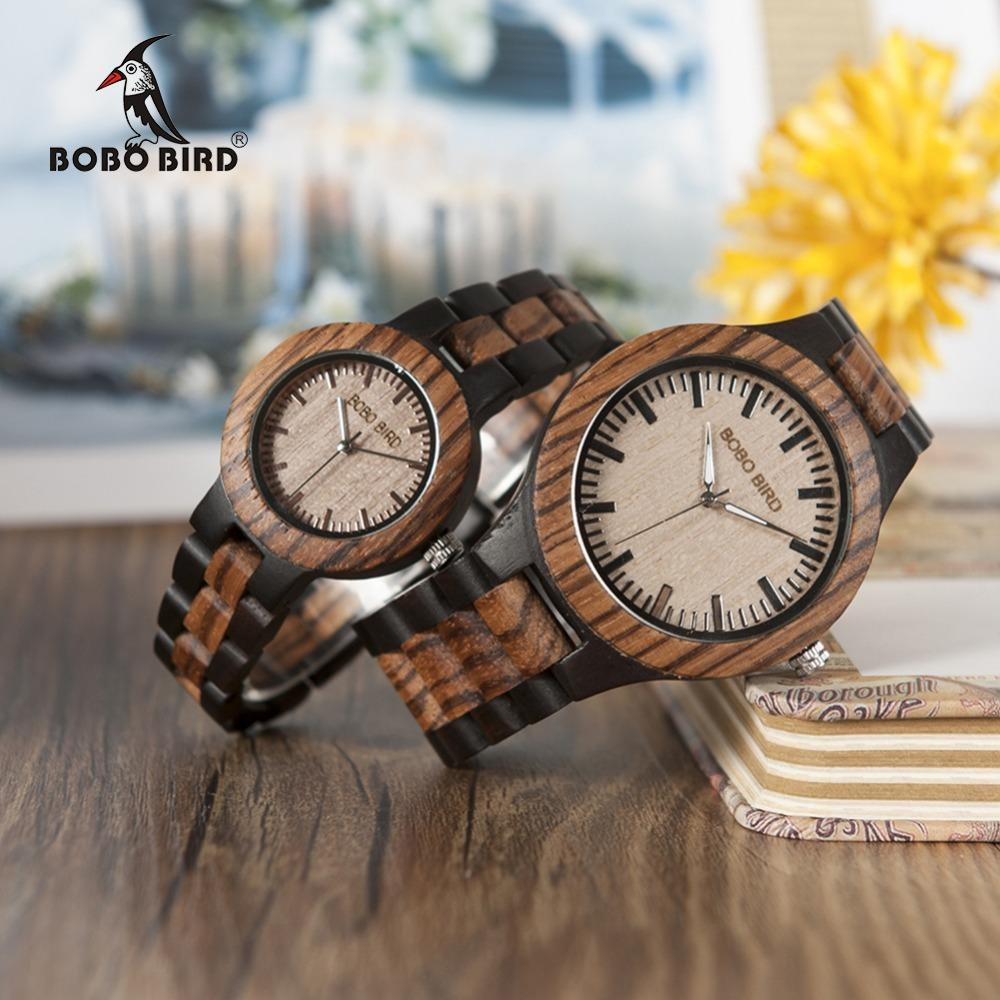 Zebra Ebony Wood Watch - His or Hers