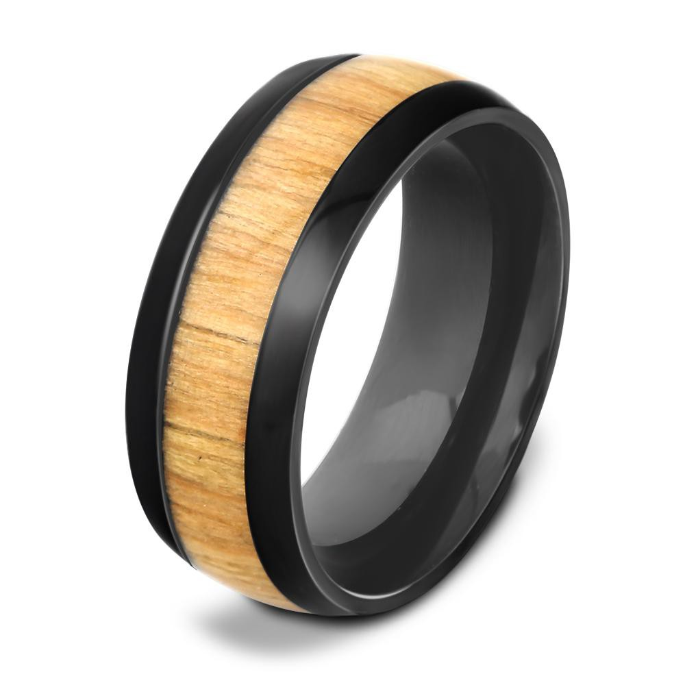Genuine Mahogany Wood Inlay Stainless Steel Ring