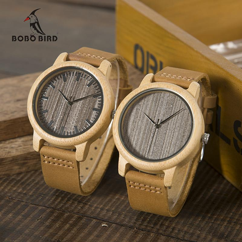 Casual Antique Round Bamboo Wooden Watch - His or Hers