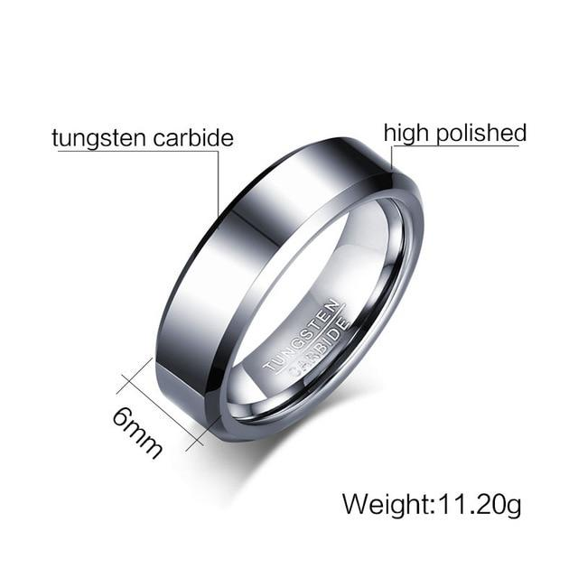 Black or Silver Tungsten Carbide Ring 6mm