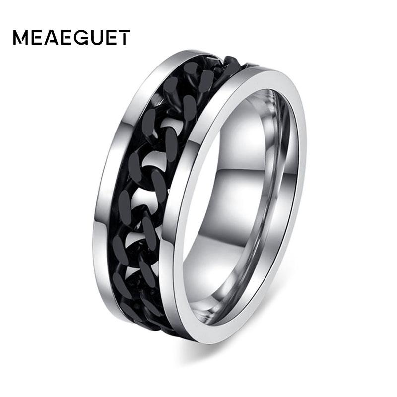 Men's Punk Rock Black Chain Spinner Ring