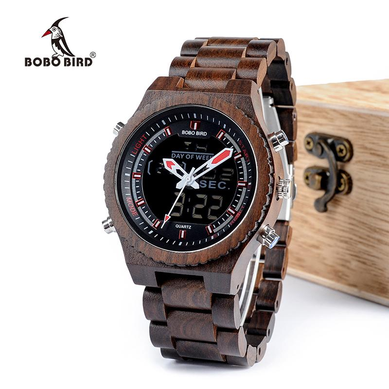 Dark Brown Wooden Dual Display Quartz Watch