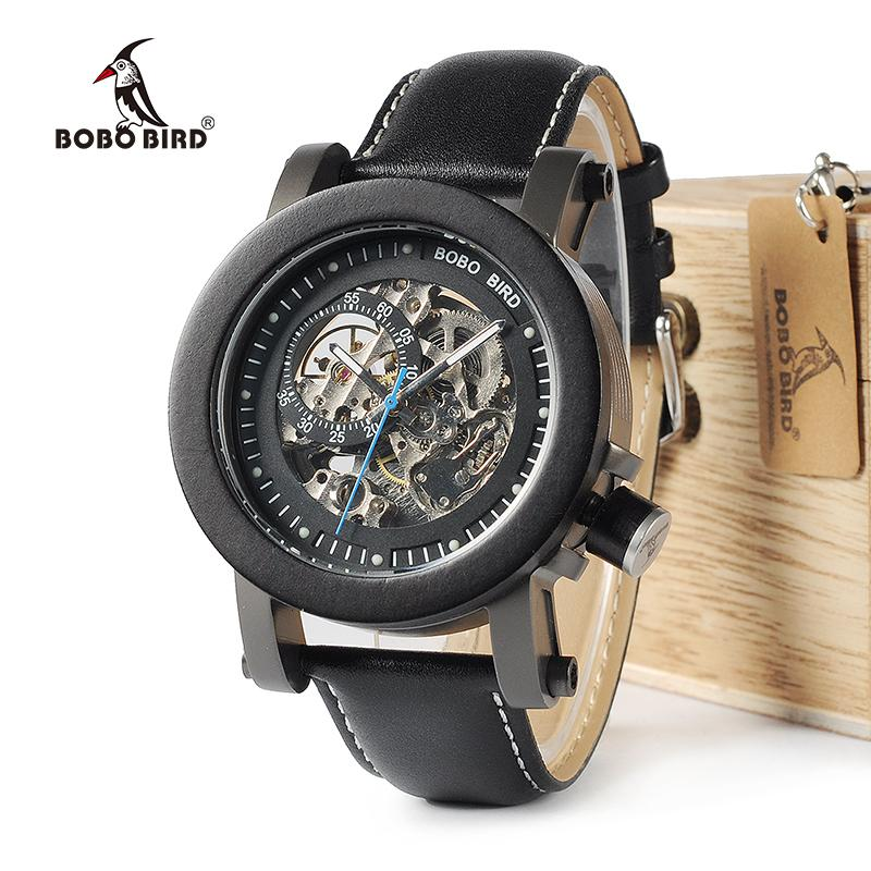 Luxury Vintage Bronze Ebony Skeleton Steampunk Watch