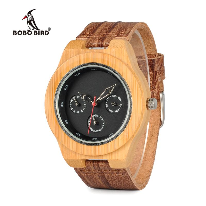 Bamboo Wood Watch with Soft Cork Leather Band