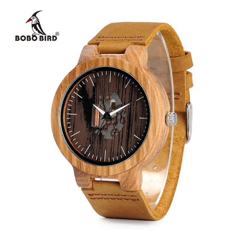 Zebra Wood Watch with Real Leather Band