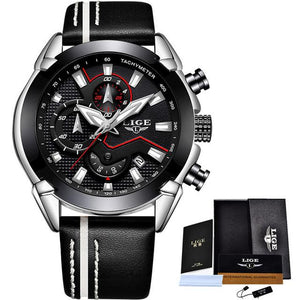 Black LIGE Leather Sports MASCULINO Watch
