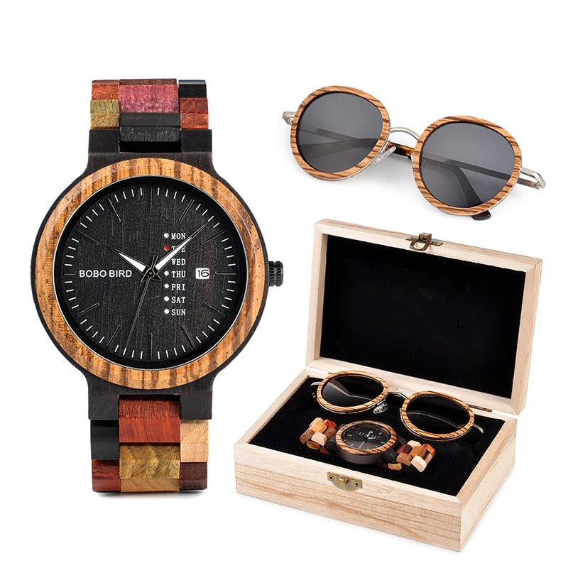 Wood Watch & Sunglasses Gift Box Set