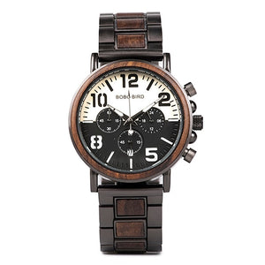 Unique Two-Tone Wooden Stainless Steel Watch