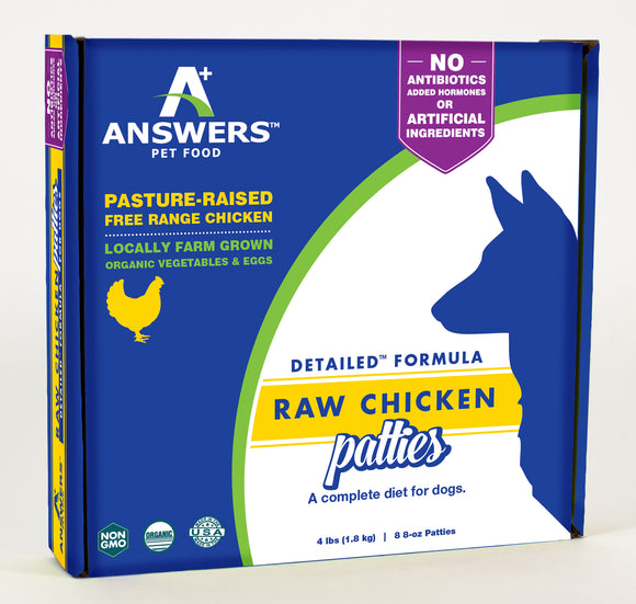 Answers Pet Food Detailed Chicken Formula For Dogs 8 oz Patties - wigglewaggleworld