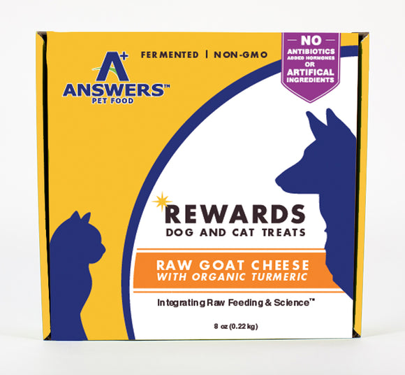 Answers Pet Food Rewards Raw Goat Cheese with Tumeric - wigglewaggleworld