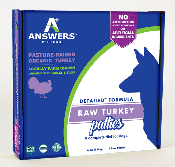 Answers Pet Food Detailed Turkey Formula For Dogs 8 oz Patties - wigglewaggleworld