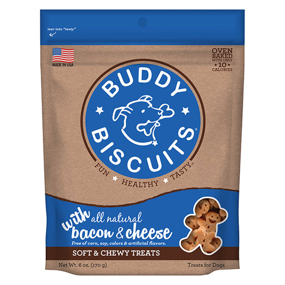 Buddy Biscuits Original Soft & Chewy Treats: Bacon & Cheese - wigglewaggleworld