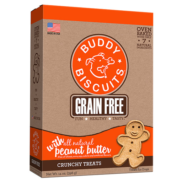 Buddy Biscuits Grain Free Oven Baked Treats: Peanut Butter - wigglewaggleworld