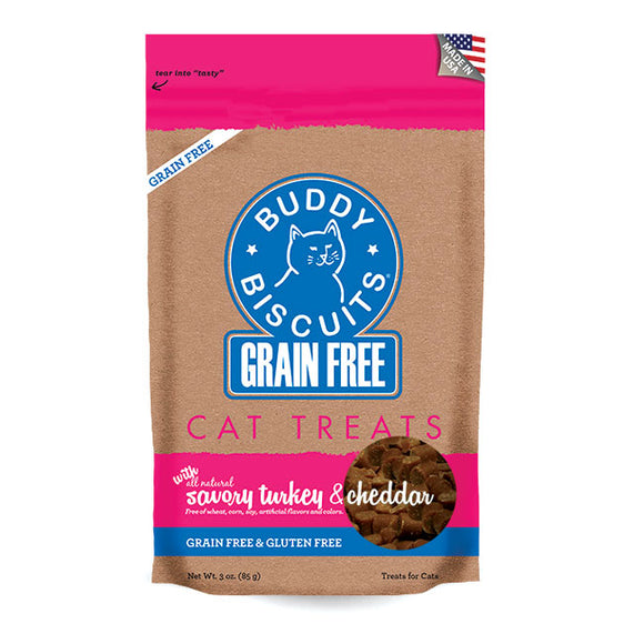 Buddy Biscuits Grain Free Buddy Biscuits for Cats: Savory Turkey & Cheddar - wigglewaggleworld