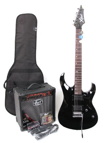 Cort X-1 E-Guitar with Amplifier / Accessories, 15 W, 9-42 strings, High Gloss Black