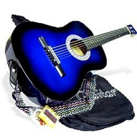 "38"" BLUE Acoustic Guitar Starter Beginner Package"