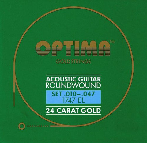 Optima 24 K Gold Plated Acoustic Guitar Strings .010-.047