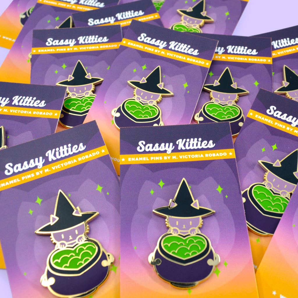 Sassy Kitties Witchy Kitty Cauldron Enamel Pin