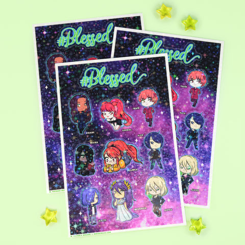#Blessed Sparkly Sticker Sheet