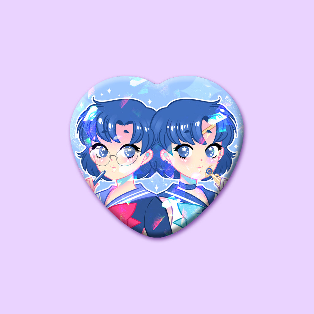 Cute Cuties Fanart Sparkly Heart Buttons