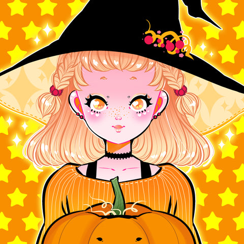 Pumpkin Witch Art Print (Signed)