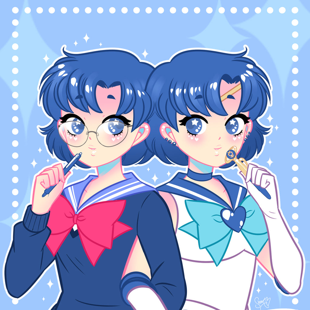 Sailor Cutie Sailor Mercury Art Print (Signed)