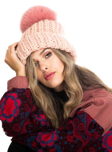 Kyi Kyi | Chunky Knit Faux Fur Beanie - Light Salmon/Multi