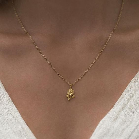 Leah Alexandra Gold Rose Necklace