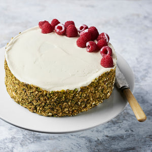Pistachio and Raspberry Mousse Cake