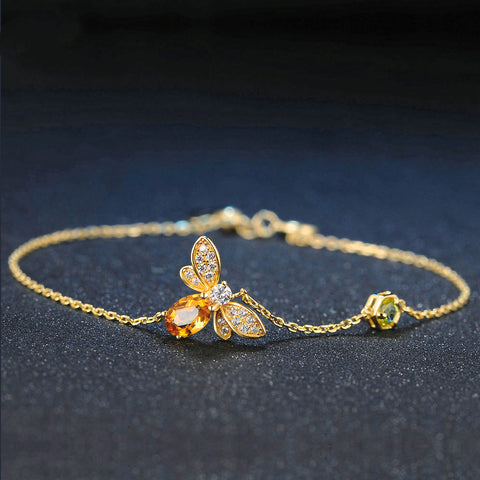 Limited Edition Natural Citrine, 14K Yellow Gold plated Sterling Silver Charm Bracelet