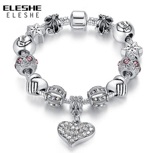 Sweetheart Charm Bracelet, Silver Color with Crystals Available in different lengths and colors