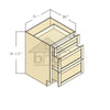 VDB21 - Cherry Shaker Java Vanity Drawer Base Cabinet