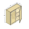 W3340 - Espresso Shaker Double Door Wall Cabinet