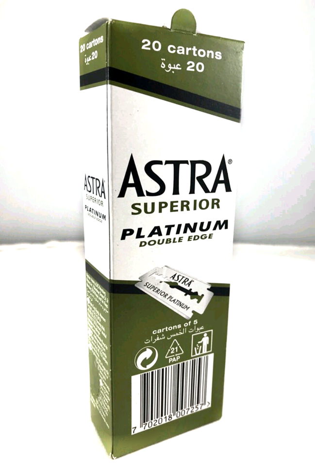 Astra Platinum Double Edge Safety Razor Blades 20 packs  of 5 blades