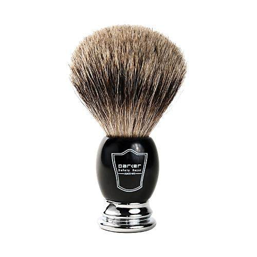 Parker Black Handle - Pure Badger Black/Chrome Brush