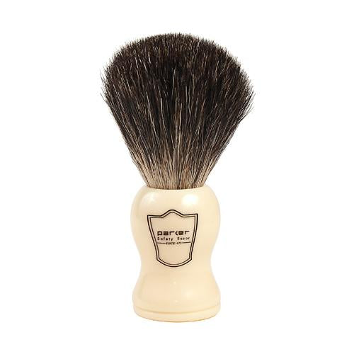White Handle, Black Badger Brush