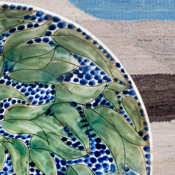 AQUAMARINE LEAVES SERVING BOWL pottery care-guide-pottery, guest, hand_crafted, in bloom, no_sale_item, pottery_no_x, SS2021, unpublish
