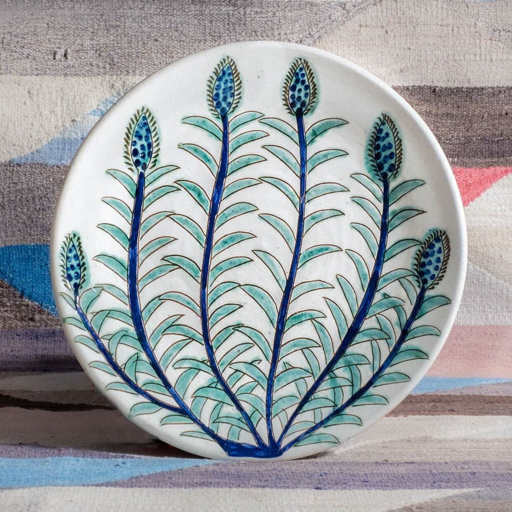 BLUE & GREEN BUDS PLATE pottery care-guide-pottery, guest, hand_crafted, Moodphoto missing, no_sale_item, pottery_no_x, winter