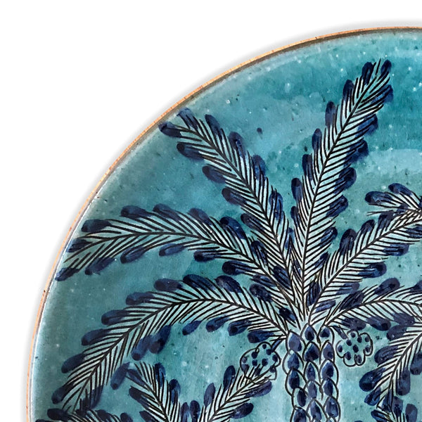 CLUSTER OF PALMS AQUA PLATE pottery care-guide-pottery, hand_crafted, Moodphoto missing, no_sale_item, palm grove, pottery_no_x, SS2021