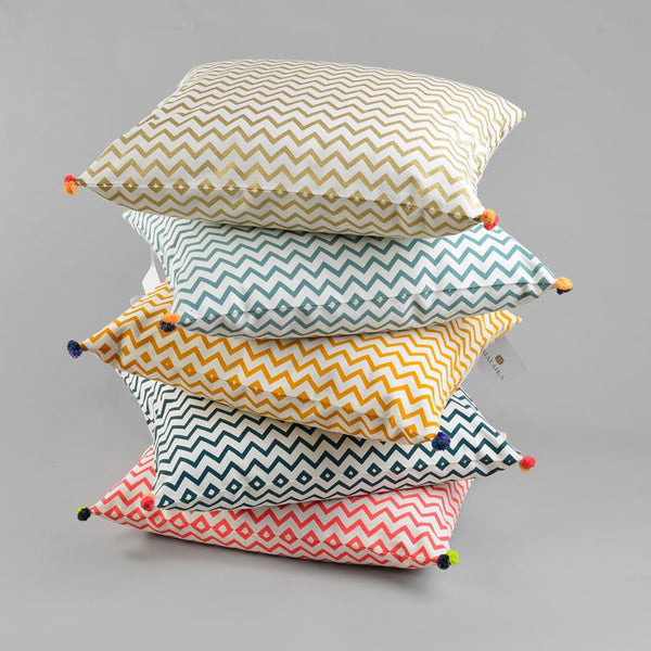 ZIG ZAG CUSHION COVER Cushion care-guide-delicate-30-no-tumble-dry, Hand Printed, Variant Photos missing