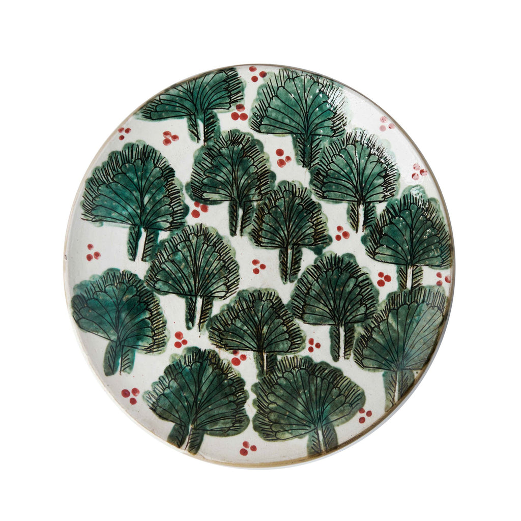 FESTIVE PALMS PLATE pottery care-guide-pottery, christmas, guest, hand_crafted, Moodphoto missing, no_sale_item, pottery_no_x