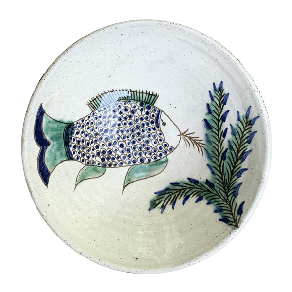 FISH FEEDING BOWL pottery guest, table, winter