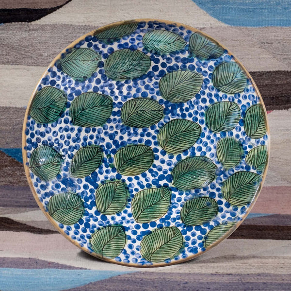 GREEN LEAVES BLUE SERVING BOWL pottery care-guide-pottery, hand_crafted, no_sale_item, pottery_no_x, SS2021, table
