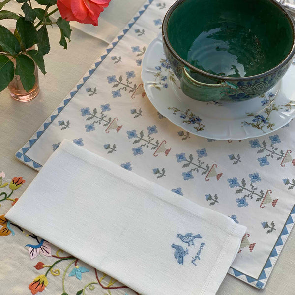 BIRD NAPKIN (SET OF 3) Napkin Busy Bees, care-guide-delicate-40, drop-ship, Goya, Hand Embroidered, in bloom, Maison-Flaneur, no_sale_item, SS2021, table, unpublish